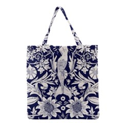 White Dark Blue Flowers Grocery Tote Bag by Brittlevirginclothing