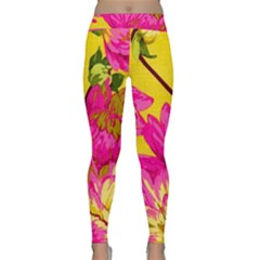 Cute Pink Flower Classic Yoga Leggings by Brittlevirginclothing