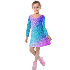Rainbow Sparkles Kids  Long Sleeve Velvet Dress by Brittlevirginclothing