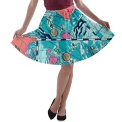 Map A-line Skater Skirt by Brittlevirginclothing