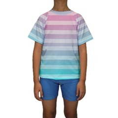 Colorful Vertical Lines Kids  Short Sleeve Swimwear by Brittlevirginclothing