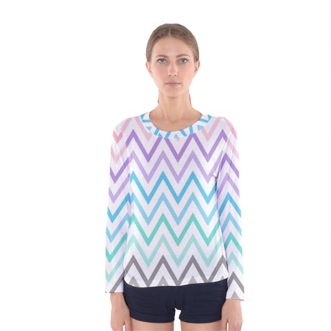 Colorful Wavy Lines Women s Long Sleeve Tee by Brittlevirginclothing