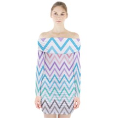 Colorful Wavy Lines Long Sleeve Off Shoulder Dress by Brittlevirginclothing