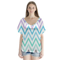 Colorful Wavy Lines Flutter Sleeve Top by Brittlevirginclothing