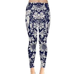 Deep Blue Flower Classic Winter Leggings by Brittlevirginclothing
