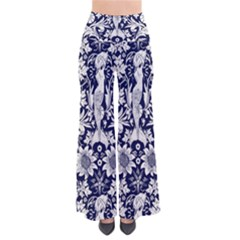 Deep Blue Flower Pants by Brittlevirginclothing
