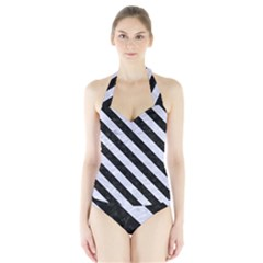 Stripes3 Black Marble & White Marble (r) Halter Swimsuit by trendistuff