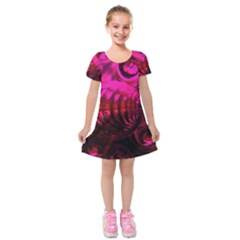 Abstract Bubble Background Kids  Short Sleeve Velvet Dress by Amaryn4rt