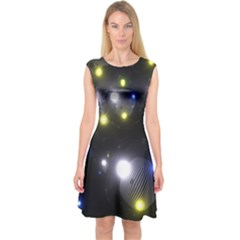Abstract Dark Spheres Psy Trance Capsleeve Midi Dress by Amaryn4rt