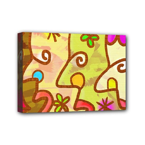 Abstract Faces Abstract Spiral Mini Canvas 7  X 5  by Amaryn4rt