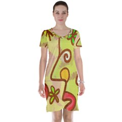 Abstract Faces Abstract Spiral Short Sleeve Nightdress by Amaryn4rt