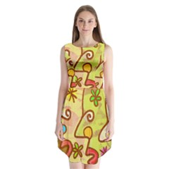 Abstract Faces Abstract Spiral Sleeveless Chiffon Dress   by Amaryn4rt