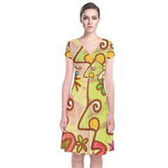 Abstract Faces Abstract Spiral Short Sleeve Front Wrap Dress