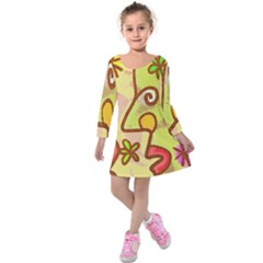 Abstract Faces Abstract Spiral Kids  Long Sleeve Velvet Dress by Amaryn4rt