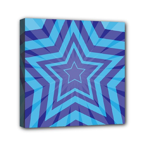 Abstract Starburst Blue Star Mini Canvas 6  X 6  by Amaryn4rt