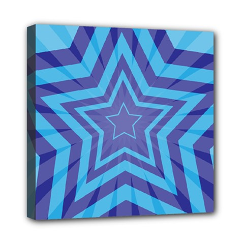 Abstract Starburst Blue Star Mini Canvas 8  X 8  by Amaryn4rt