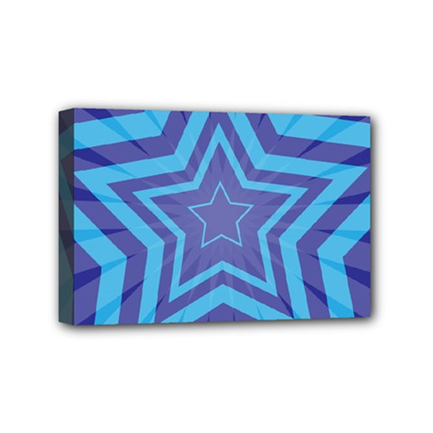 Abstract Starburst Blue Star Mini Canvas 6  X 4  by Amaryn4rt