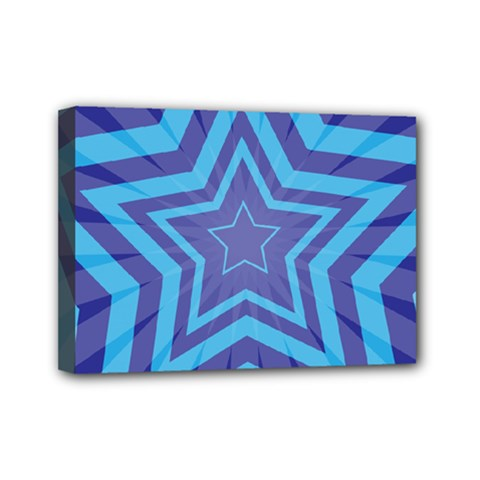 Abstract Starburst Blue Star Mini Canvas 7  X 5  by Amaryn4rt
