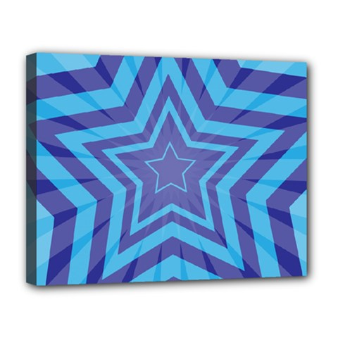 Abstract Starburst Blue Star Canvas 14  X 11  by Amaryn4rt