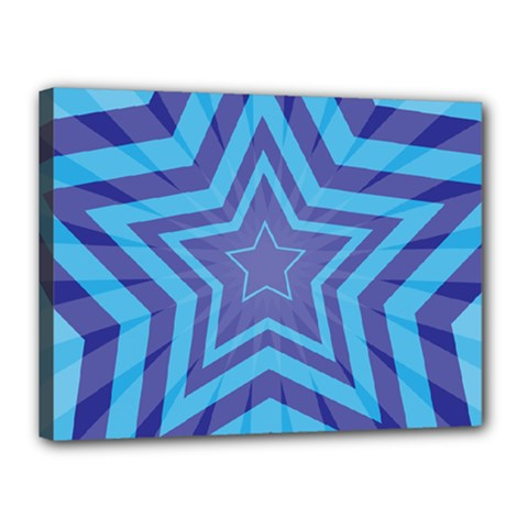 Abstract Starburst Blue Star Canvas 16  X 12  by Amaryn4rt