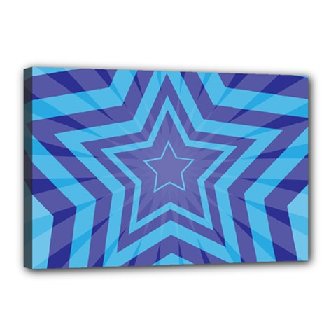 Abstract Starburst Blue Star Canvas 18  X 12  by Amaryn4rt