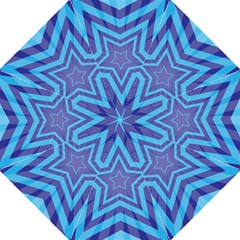 Abstract Starburst Blue Star Folding Umbrellas by Amaryn4rt