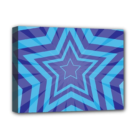 Abstract Starburst Blue Star Deluxe Canvas 16  X 12   by Amaryn4rt