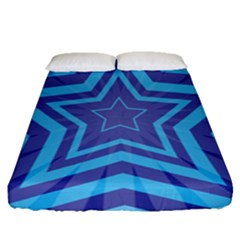 Abstract Starburst Blue Star Fitted Sheet (queen Size) by Amaryn4rt