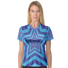 Abstract Starburst Blue Star Women s V Neck Sport Mesh Tee by Amaryn4rt