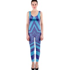 Abstract Starburst Blue Star Onepiece Catsuit by Amaryn4rt