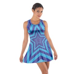 Abstract Starburst Blue Star Cotton Racerback Dress by Amaryn4rt