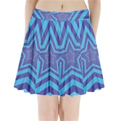Abstract Starburst Blue Star Pleated Mini Skirt by Amaryn4rt