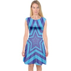 Abstract Starburst Blue Star Capsleeve Midi Dress by Amaryn4rt