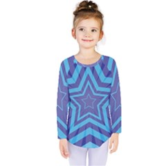 Abstract Starburst Blue Star Kids  Long Sleeve Tee by Amaryn4rt