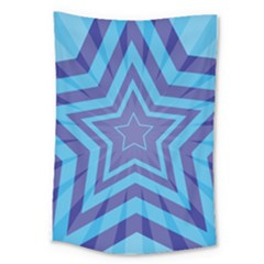 Abstract Starburst Blue Star Large Tapestry by Amaryn4rt