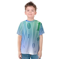 Blue Binary Background Binary World Binary Flow Hand Kids  Cotton Tee by Amaryn4rt