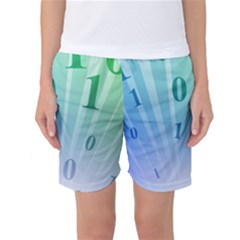 Blue Binary Background Binary World Binary Flow Hand Women s Basketball Shorts by Amaryn4rt