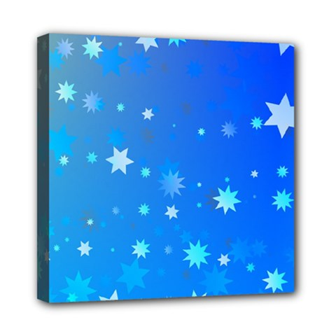 Blue Hot Pattern Blue Star Background Mini Canvas 8  X 8