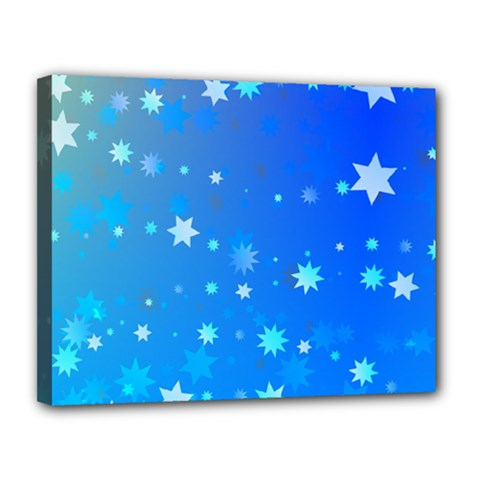 Blue Hot Pattern Blue Star Background Canvas 14  X 11