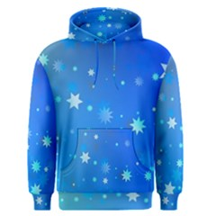 Blue Hot Pattern Blue Star Background Men s Pullover Hoodie