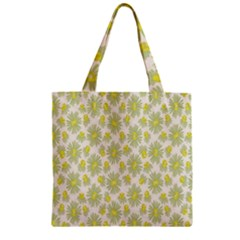 Another Supporting Tulip Flower Floral Yellow Gray Zipper Grocery Tote Bag