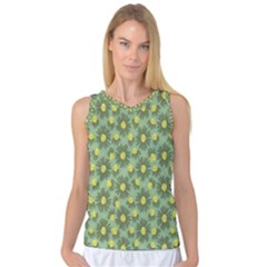 Another Supporting Tulip Flower Floral Yellow Gray Green Women s Basketball Tank Top