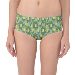 Another Supporting Tulip Flower Floral Yellow Gray Green Mid Waist Bikini Bottoms