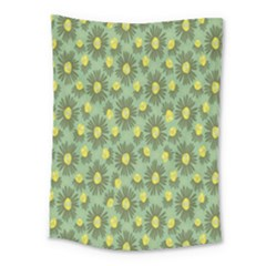 Another Supporting Tulip Flower Floral Yellow Gray Green Medium Tapestry