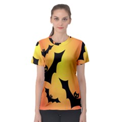 Bats Orange Halloween Illustration Clipart Women s Sport Mesh Tee