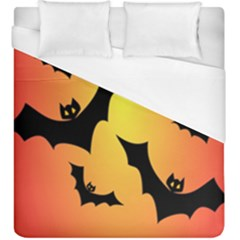 Bats Orange Halloween Illustration Clipart Duvet Cover (king Size)