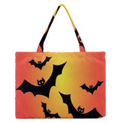 Bats Orange Halloween Illustration Clipart Medium Zipper Tote Bag by Jojostore