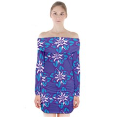 Analogous Blue Flower Long Sleeve Off Shoulder Dress
