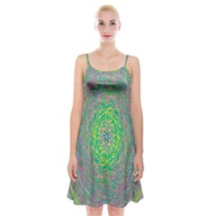 Abstraction Illusion Rotation Green Gray Spaghetti Strap Velvet Dress