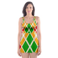 Chevron Wave Green Red Orange Line Skater Dress Swimsuit